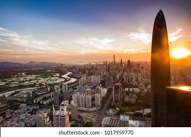 SHENZHEN, CHINA - MAY 2: The beautiful Shenzhen skyline at dusk on May 2 2015 in Shenzhen, China.