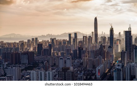 SHENZHEN, CHINA - MAY 2: The beautiful Shenzhen skyline at dusk on May 2 2015 in Shenzhen, China.