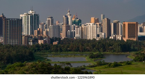 SHENZHEN, CHINA - MAY 2: The beautiful Shenzhen skyline at sunset on May 2 2015 in Shenzhen, China.