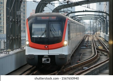Shenzhen, China - Nov. 22, 2019: MTR (SZ) train on track