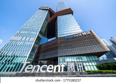 Shenzhen, China - October 23, 2019: Building of TENCENT company - Twin-skyscrapers headquarters located at Shenzhen Bay Start Up Plaza in Nanshan business district.
