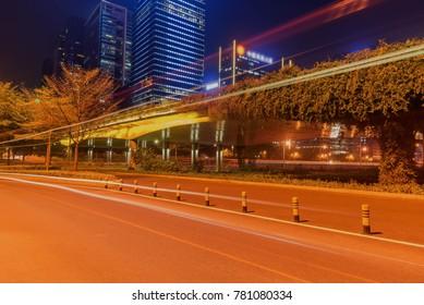 Shenzhen, China road car light trails