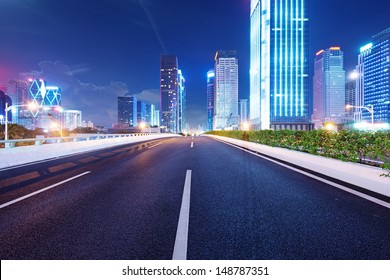 Shenzhen, China, and urban transport in the night