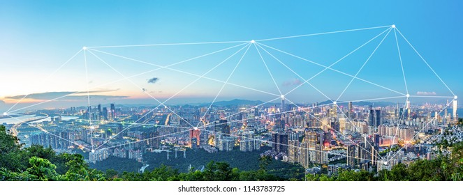 Shenzhen City CBD Skyline and Big Data Concept