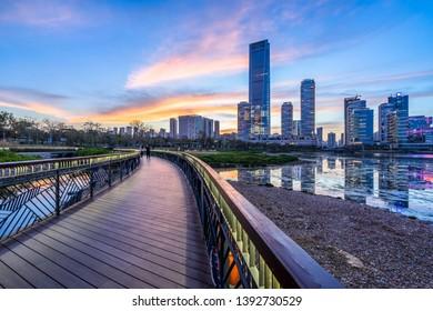 shenzhen city skyline at dusk
