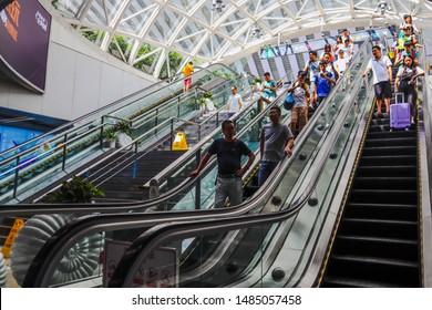 Shenzhen, Guangdong Province / China - Jul 13 2019 : Escalator at Shenzhenbei high-speed railway station