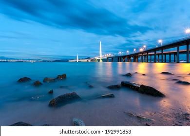Shenzhen to the night view of Hongkong Bay Bridge