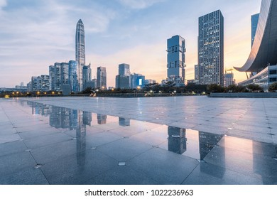 Shenzhen skyline at dusk and no one way outdoors