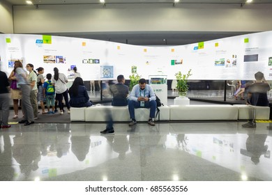 Shenzhen,China –July 25, 2017:People visiting the exhibition during the XIX International Botanical Congress in Shenzhen, Guangdong, China.It is the first time it has been held in developing countries