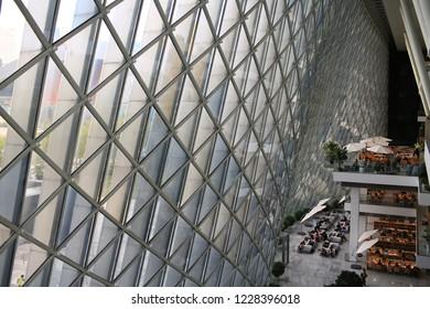 Shenzhen/China - November 11 2018: Civic Center exterior view in shenzhen. shenzhen civic center,  is a 84.7 meters-tall government building