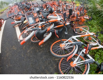 Shenzhen,Guangdong / China - AUG 20;2018: Abandoned shared bikes in China