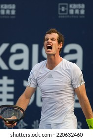 SHENZHEN-SEPTEMBER 28: British tennis player Andy Murray in his win over Tommy Robredo of Spain in ATP Shenzhen Open on September 28, 2014 in Shenzhen, China.