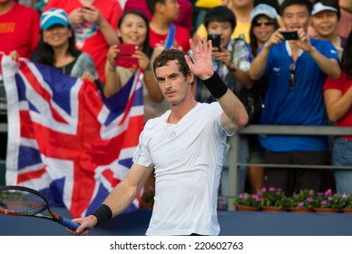 SHENZHEN-SPETEMBER 27: British tennis player Andy Murray celebrates his victory over Juan Monaco of Argentina in ATP Shenzhen Open on September 27, 2014 in Shenzhen, China.