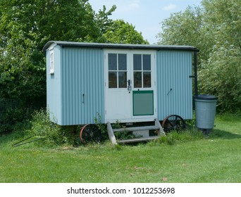 Shepherd Hut on an Allotment in Rural Somerset, England, UK