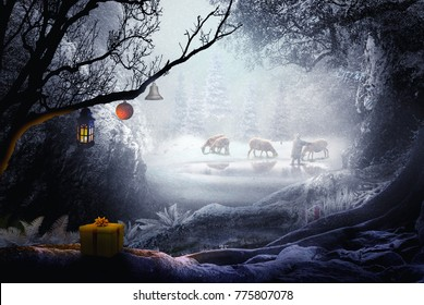 shepherd in winter landscape fantasy forest chistmas theme
