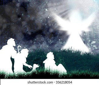 Shepherds and angel silhouette-Angel announced to the shepherds the birth of Jesus