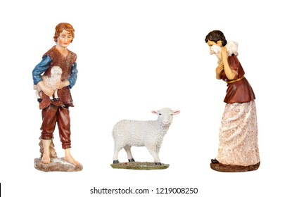 Shepherds of a Bethlehem portal with a sheep isolated on a white background