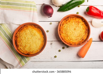 Shepherd's pie with potato, meat and vegetables