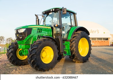 Shepparton, Australia - April 16, 2017: John Deere is an American manufacturer of agricultural, forestry and construction machinery. This dealership is in Shepparton.