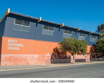 Shepparton, Australia - December 29, 2015: Mercy Centennial Stadium is a basketball stadium attached to Notre Dame College, a private Catholic school in central Shepparton.