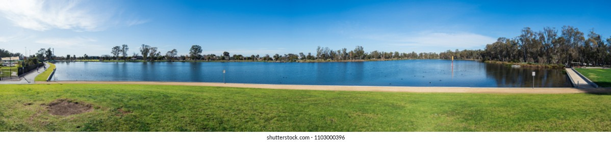 Shepparton, Australia - June 8, 2015: Victoria Park Lake is a lake in central Shepparton, used for recreation including rowing.