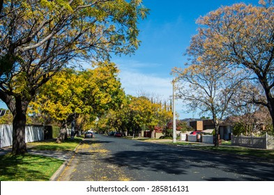 Shepparton, Australia - June 8, 2015: Orr Street is a residential street in inner Shepparton, graced by trees and large older homes as seen here in autumn.