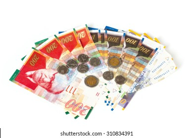 Sheqel and coins isolated on white background
