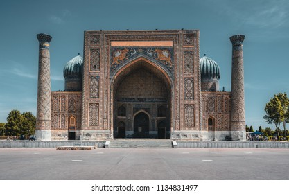 Sher Dor madrasah on Registan square, Samarkand, Uzbekistan