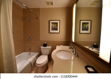 Sheraton Vancouver Airport Hotel, Vancouver, US. 30 Apr, 2018 - Interior of the Junior Suites room's bathroom