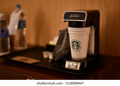 Sheraton Vancouver Airport Hotel, Vancouver, US. 30 Apr, 2018 - Starbucks Coffee machine is available in the Junior Suites room.