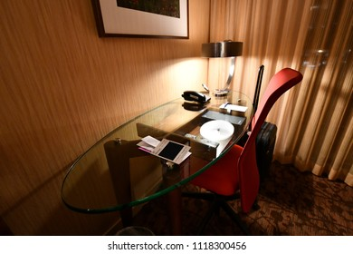 Sheraton Vancouver Airport Hotel, Vancouver, US. 30 Apr, 2018 - Interior of the Junior Suites room , working desk suitable for business work.