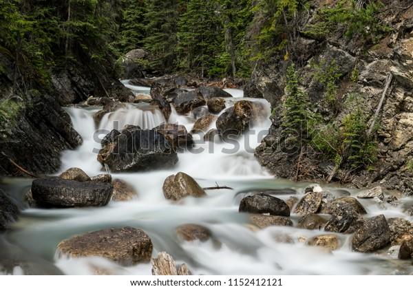 Sherbrooke Creek runs peacefully beside the road in Yoho National Park