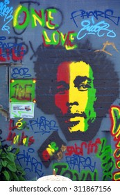 SHERBROOKE QUEBEC CANADA AUGUST 29 2015:  Street art Bob Marley Sherbrooke is the perfect place to walk in the back alleys and abandoned areas, looking for street art