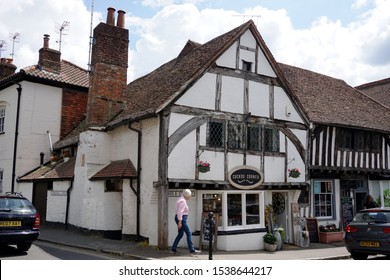SHERE, GUILDFORD, UK-26 MAY 2019: Old Tudor style building of Cuckoo Corner the gift shop in Village Seasons, Middle Stress, Shere, Guildford, Surrey, South England, United Kingdom