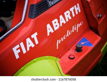 Shere, Surrey/ UK - 03 09 2017: Detail shot Fiat x19 Abarth Prototipo decal