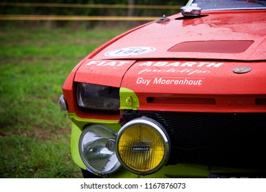 Shere, Surrey/ UK - 03 09 2017: Detail shot of the front of a Fiat x19 Abarth Prototipo