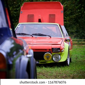 Shere, Surrey/ UK - 03 09 2017: Framed shot of the front of a Fiat x19 Abarth Prototipo with the engine lid open