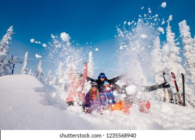 Sheregesh, Kemerovo region, Russia - November 17, 2018: Group of merry people with skis and snowboards play