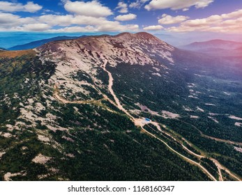 Sheregesh, Kemerovo, Russia, Aerial view drone mountains and forest, ski resort