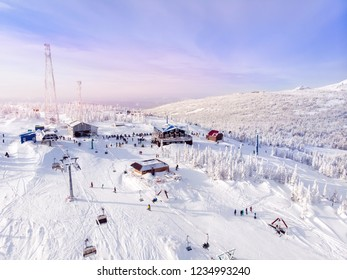 Sheregesh, Kemerovo, Russia, Aerial view drone mountains and forest, winter ski resort