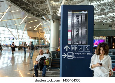 SHEREMETJEVO AIRPORT, MOSCOW - 23 MAY 2019: Timetabe with various departure flights on it.