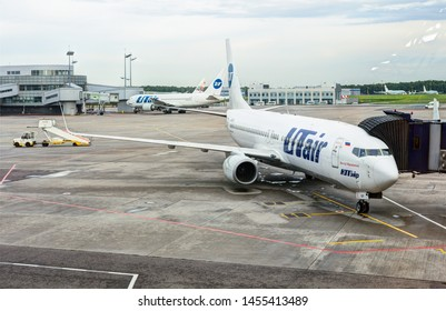 SHEREMETJEVO AIRPORT, MOSCOW - 23 MAY 2019: UTair aicraft on the service area.