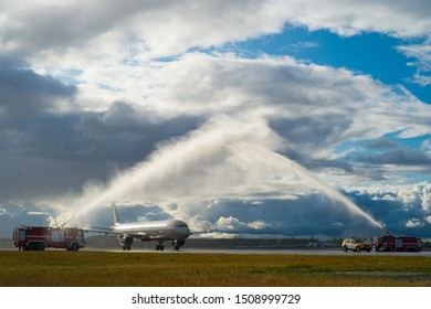 Sheremetyevo Airport (SVO),Moscow Region, Russia - 19 September, 2019: Aeroflot first landed on a new runway at 16.20 Moscow time-flight SU 019 St. Petersburg-Moscow.Traditional aviation salute.