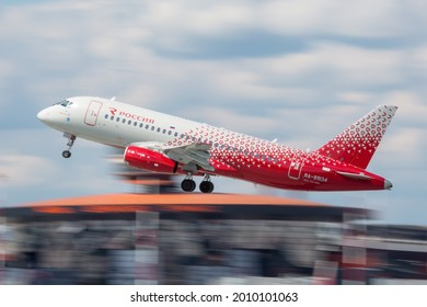 Sheremetyevo International Airport, Moscow, Russia - 06.14.2021. Passenger aircraft Sukhoi Superjet 100 (SSJ100) of Rossiya Airlines takes off from the airport runway.