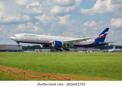 Sheremetyevo International Airport, Moscow, Russia - 06.14.2021. Passenger aircraft Boeing 777 of Aeroflot - Russian Airlines lands on the airport runway.