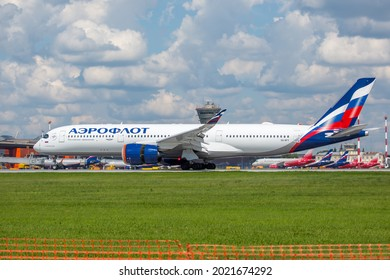 Sheremetyevo International Airport, Moscow, Russia - 06.14.2021. Passenger aircraft Airbus A350 XWB of Aeroflot - Russian Airlines lands on the airport runway and includes reverse.