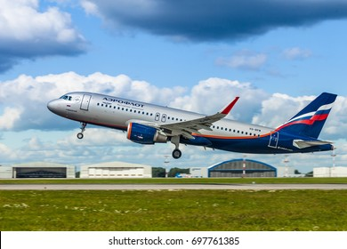 SHEREMETYEVO INTERNATIONAL AIRPORT, MOSCOW, RUSSIA - 08 AUGUST 2017: Airbus A-320 of Aeroflot Russian Airlines taking off from Moscow airport Sheremetyevo.