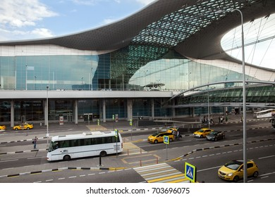 Sheremetyevo, Moscow - AUG 22, 2017: Terminal D of international airport (SVO) was built in 2009
