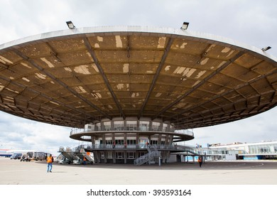 SHEREMETYEVO, MOSCOW REGION, RUSSIA - APRIL 15, 2015: Terminal at Sheremetyevo international airport. Old terminal (glass)