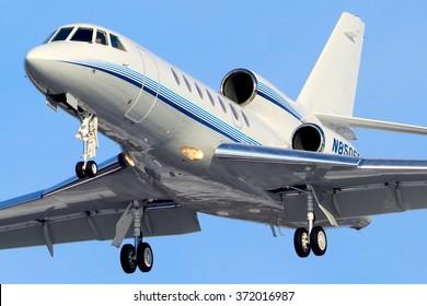 SHEREMETYEVO, MOSCOW REGION, RUSSIA - JANUARY 30, 2013: Private Dassault Falcon 50 landing at Sheremetyevo international airport.